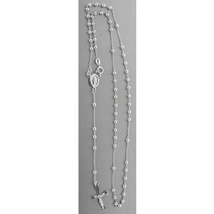 Rosenkranz Silber 925 rhodiniert Rosario Kugelkette Silberkette Kette Kreuz