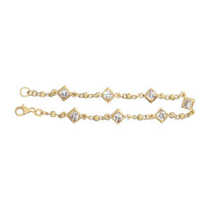 Armband Silber 925 Gelbgold vergoldet Armkette mit Carreeschliff Zirkonias Silberarmband Gold