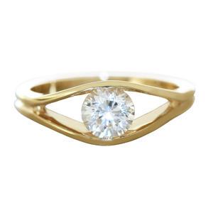 Verlobung Ring Gold 585 massiv Zirkonia Solitär Damenring 14 Kt. Goldring RW 57