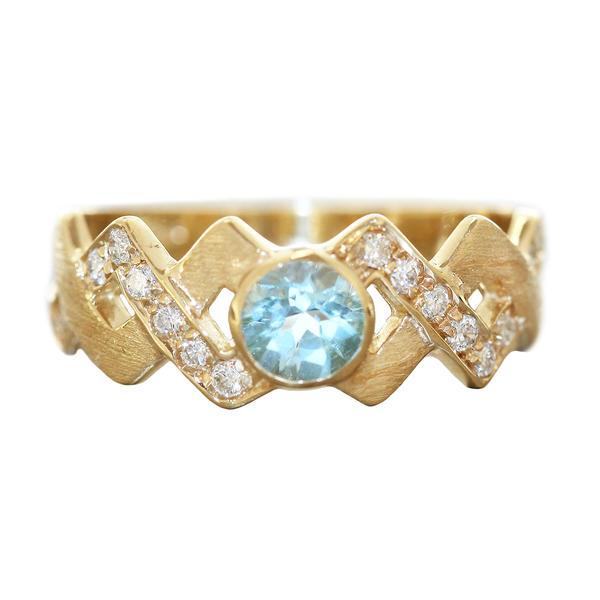 Ring Gold 585 Brillanten 0,18 ct. RW 54 Diamantring Blautopas Damen Goldring 14 Kt.