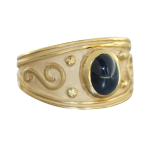 Solitär Ring Gold 375 Saphir blau Cabochon breiter 9 Kt. Goldring RW 63