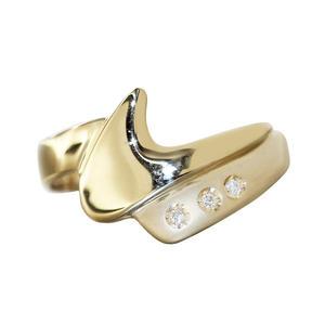 Diamantring Gold 585 mit 3 Brillanten Damenring14 Kt. moderner Goldring RW 56