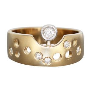 Ring Gold 585 Diamanten Designerring RW 55 Brillanten 0,20 ct Goldring 14 K bicolor massiv Damen
