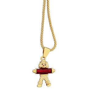 Clown Anhänger Gold 375 Goldclown Kettenanhänger rot mit Himbeerkette