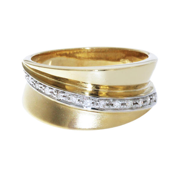 Ring Gold 585 Brillantring 14 Brillanten RW 59 breiter Damenring Goldring 14 Kt