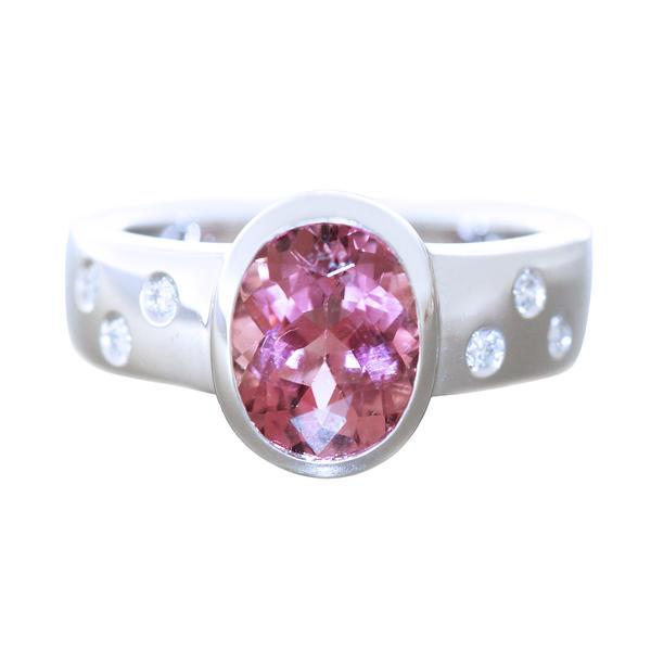 Ring Weißgold 585 pink Turmalin Brillantring 14 Kt. Damen RW 57 Solitärring