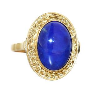 Goldring 750 massiv mit Lapis Lazuli klassischer Ring Gold 18 Kt Damen RW 58