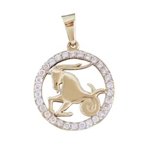 Sternzeichen Steinbock Gold 585 Anhänger mit Zirkonias Tierkreiszeichen 14 Kt