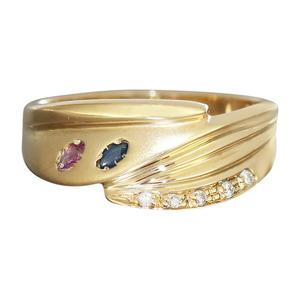 Goldring 585 Rubin Safir Brillant Damenring Brillantring Ring Gelbgold RW 56