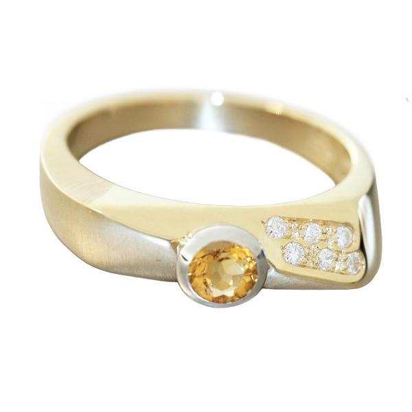 Ring Gold 585 Citrin u 6 Brillanten Damen RW 59 Diamantring massiv 14 K Goldring