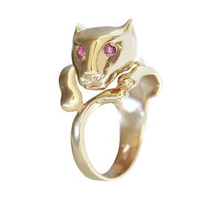 Ring Gold 585 Panther Rubin Goldring 14 Kt. Panterkopf Damen RW 54