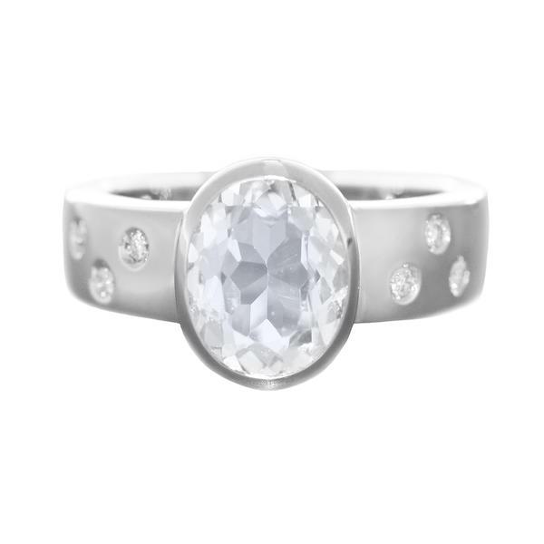 Ring Weißgold 585 Brillanten und Beryll Diamantring Solitärring RW 57