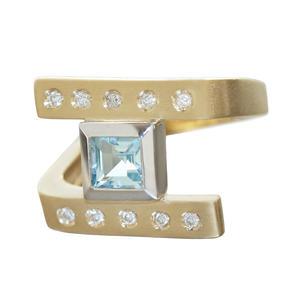 Ring Gold 585 Brillanten u Blautopas Diamantring massiver Goldring bicolor 14 Kt