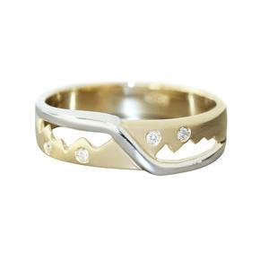 Diamantring Gold 585 bicolor mit 4 Brillanten moderner Goldring 14 Kt. Damenring RW 57