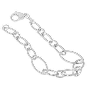 Armband Silber 925 grobgliedrige Armkette mit Karabiner Damen 19 cm