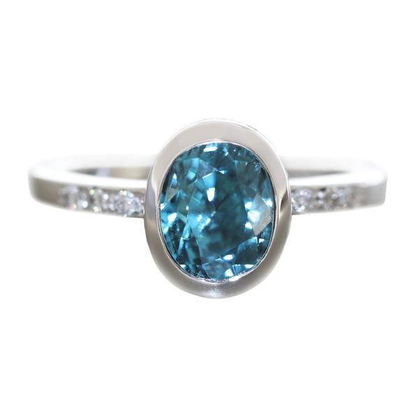 Ring Weißgold 585 Brillanten 0,40 ct. und Starlit blau Diamantring Solitärring