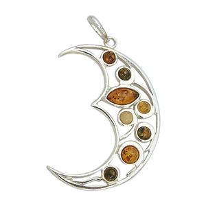 Silbermond Anhänger Mond Silber 925 mit Bernsteinen toller Silberanhänger