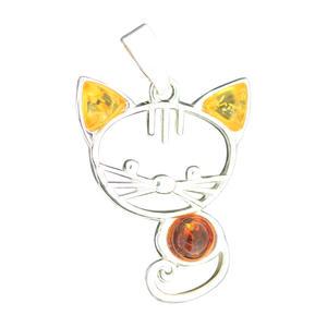 Niedliche Katze Anhänger Silber 925 mit Bernstein Silberkatze Silberanhänger