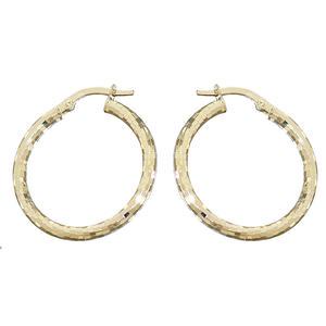 Creolen Gold 585 facettierte Ohrringe 2,5 cm Ø Goldcreolen 14 kt