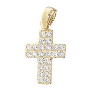 Kleines Kreuz Gold 585 mit funkelnden Zirkonias Goldkreuz Anhänger Goldanhänger