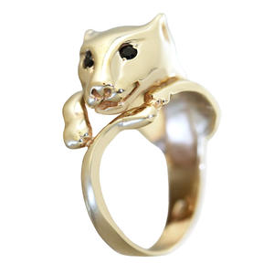 Ring Gold 585 Panther mit Saphir Goldring 14 Kt. Pantherkopf Damen RW 54