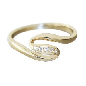 Ring Gold 585 mit Zirkonias massiver feiner Damenring 14 Kt. Goldring RW 58