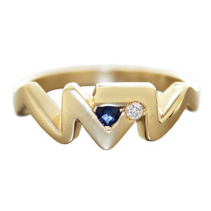 Ring Gold 585 Brillant u Saphir RW 55 moderner Goldring 14 Kt. Damen Diamantring