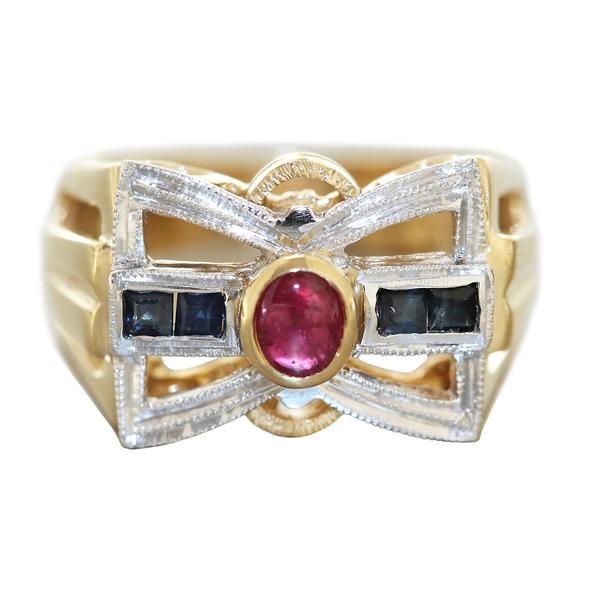 Ring Gold 585 mit Rubin und Saphiren breiter Ring Damenring bicolor 14 Kt