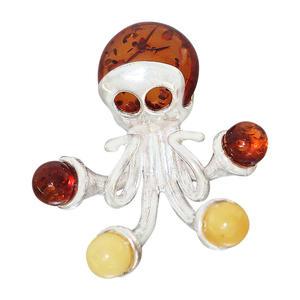 Anhänger Silber 925 Octopus Bernstein mehrfarbig echter Silberanhänger massiv