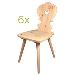 Bauernstuhl aus Zirbenholz 6er-Set- Handarbeit aus Südtirol