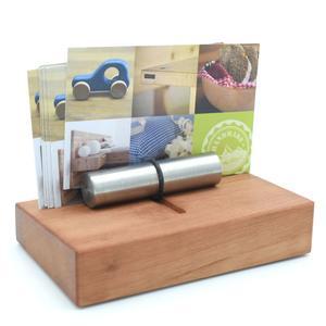 Edler Visitenkartenhalter aus Holz 10 x 6,2 x 5,4 cm - 'Holder' Birnenholz geölt - Handgemacht in Deutschland