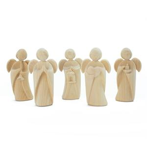 5er Set Klassischer Schutzengel aus Zirbenholz | Geschenk zur Taufe oder zu Weihnachten | Handarbeit aus Südtirol