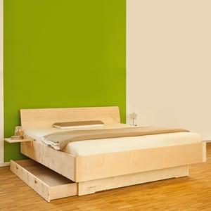 Metallfreies Doppelbett aus Massivholz Floating Dreams - Handarbeit aus Deutschland Zirbe Natur 140x200 Ohne Bettkästen
