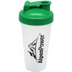 ALPENPOWER Protein Shaker 600 ml | Inkl. Siebeinsatz für cremige Shakes | Mit Klappdeckel und Schraubverschluss | 100% auslaufsicher | Diät Shaker | Eiweiß Shaker | BPA-frei | Made in Germany