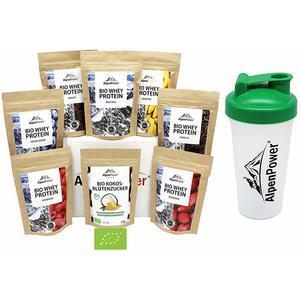 ALPENPOWER | BIO WHEY Protein Probierbox 7 Sorten (7 x 65 g) + Shaker | Inkl. Bio-Kokosblütenzucker (1 x 100 g) | Ohne Zusatzstoffe | 100% natürliche Zutaten | Bio-Milch aus Bayern und Österreich