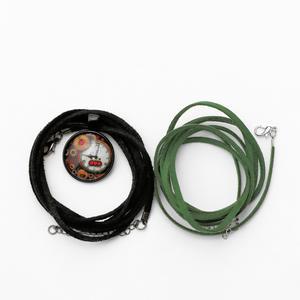 Set: Wickel-Halskette aus Leder mit Schmuckanhänger, Schwarz und Grün, Damen