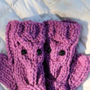 Warme Fingerlose Handschuhe mit Motiv Eule Lila, Damen