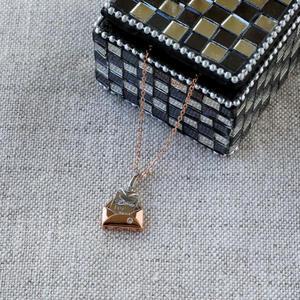 Halskette mit Liebesbrief-Anhänger Champagner Gold und Silber, Damen