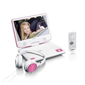 LENCO DVP910PK weiß | Portable DVD-Player 9 Zoll, USB, 3,5mm Kopfhörer-Out, AV-Out, 180° dreh- & neigbarer Bildschirm