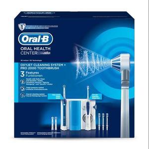 BRAUN Oral-B Center OxyJet Reinigungssystem Munddusche + Oral-B PRO 2 weiß/blau | Reinigungssystem Munddusche