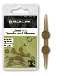 Radical Chod Rig Beads and Sleeve Camo-Green 5Set