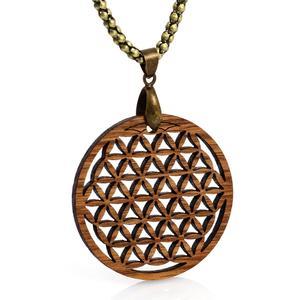 Blume des Lebens Amulett mit Halskette - Nuss Massivholz - inkl. modernem Etui