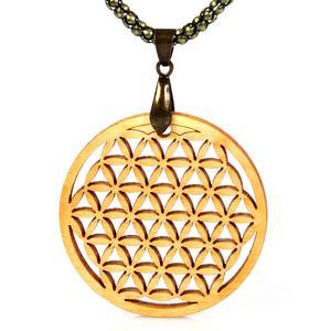 Blume des Lebens Amulett mit Halskette - Zirbe Massivholz - inkl. modernem Etui