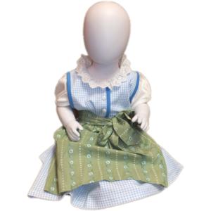 Babydirndl blau inkl. grüner Schürze und weißem Body