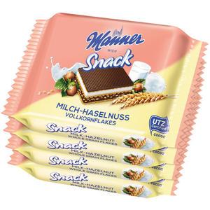 Manner Snack Milch-Haselnuss Vollkornflakes UTZ, 4er Packung