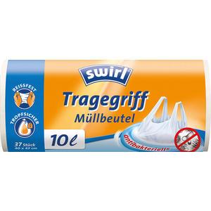 Swirl Müllbeutel 10 Liter antibakteriell, mit Tragegriff, weiss/teil-transparent, reissfest, tropfsicher
