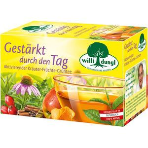 Willi Dungl Gestärkt durch den Tag, aktivierender Kräuter-Früchte-Grüntee, Teebeutel im Kuvert