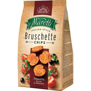 Maretti Bruschette Tomato, Olives & Oregano, Brotchips