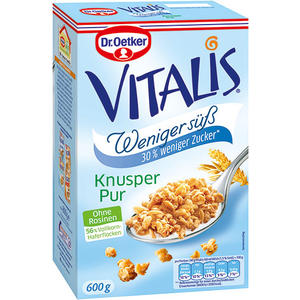 Dr. Oetker Vitalis Weniger süß Knusper Pur Müsli, ohne Rosinen