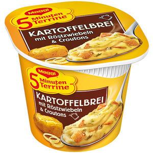Maggi 5 Minuten Terrine Kartoffelbrei mit Röstzwiebeln & Croutons, 1 Portion